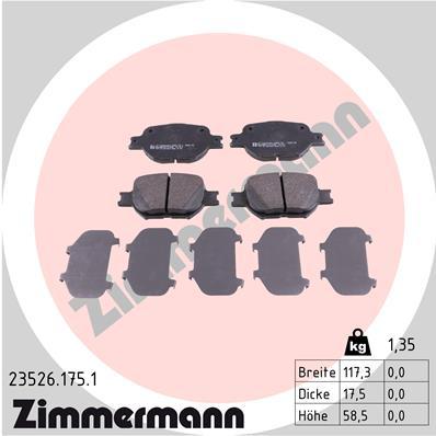 Ilustracja 23526.175.1 ZIMMERMANN klocki hamulcowe