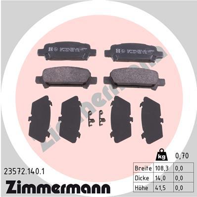 Ilustracja 23572.140.1 ZIMMERMANN klocki hamulcowe