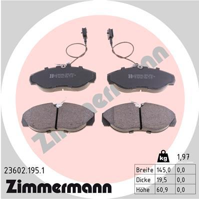 Ilustracja 23602.195.1 ZIMMERMANN klocki hamulcowe
