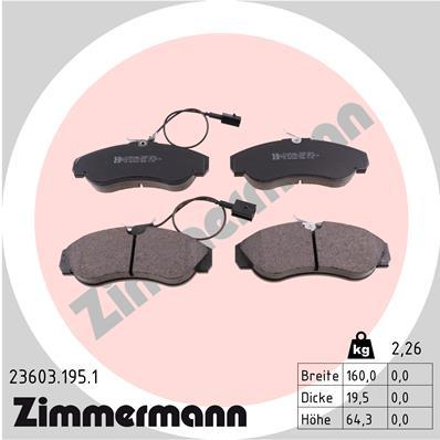 Ilustracja 23603.195.1 ZIMMERMANN klocki hamulcowe