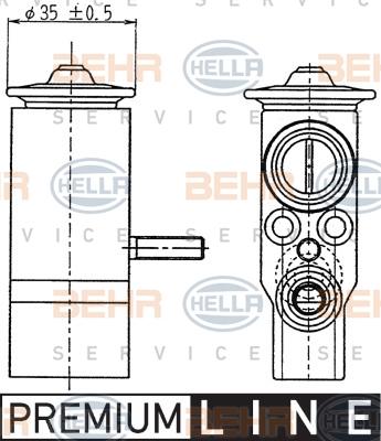 Ilustracja 8UW 351 239-021 HELLA zawór rozprężny, klimatyzacja