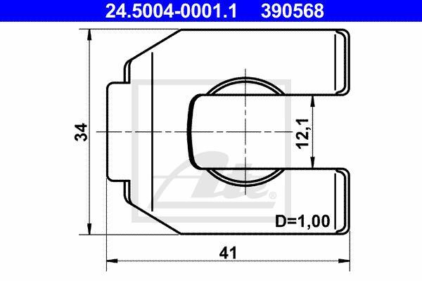 Ilustracja 24.5004-0001.1 ATE mocowanie, przewód hamulcowy elastyczny