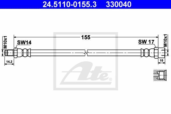 Ilustracja 24.5110-0155.3 ATE przewód hamulcowy elastyczny