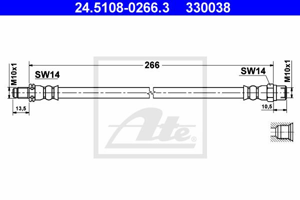 Ilustracja 24.5108-0266.3 ATE przewód hamulcowy elastyczny