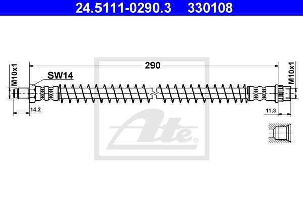 Ilustracja 24.5111-0290.3 ATE przewód hamulcowy elastyczny