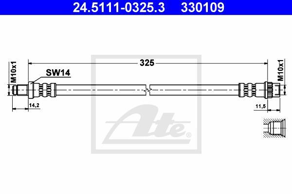 Ilustracja 24.5111-0325.3 ATE przewód hamulcowy elastyczny