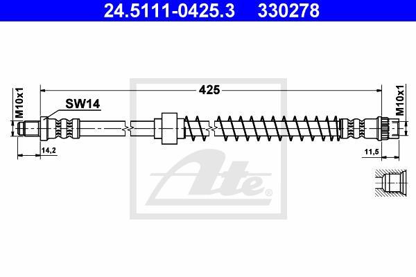 Ilustracja 24.5111-0425.3 ATE przewód hamulcowy elastyczny