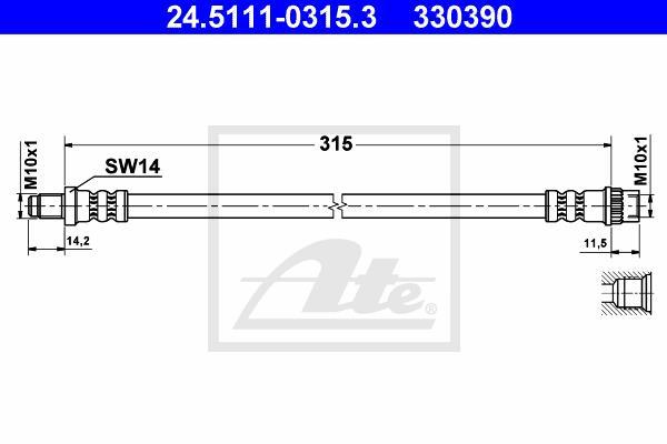 Ilustracja 24.5111-0315.3 ATE przewód hamulcowy elastyczny