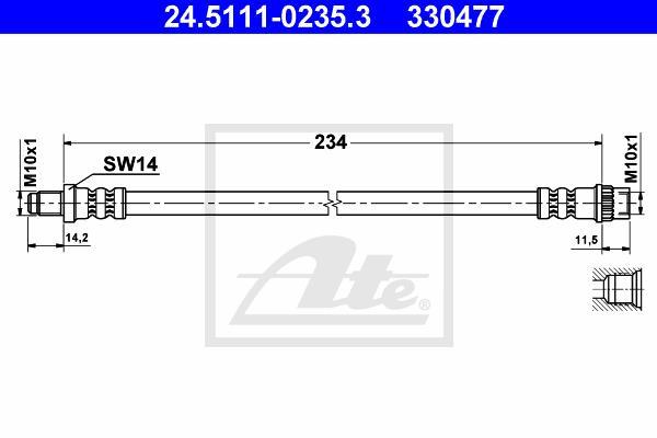 Ilustracja 24.5111-0235.3 ATE przewód hamulcowy elastyczny