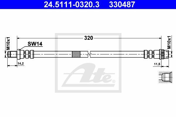 Ilustracja 24.5111-0320.3 ATE przewód hamulcowy elastyczny
