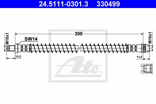 Ilustracja 24.5111-0301.3 ATE przewód hamulcowy elastyczny