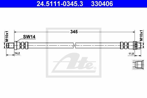 Ilustracja 24.5111-0345.3 ATE przewód hamulcowy elastyczny