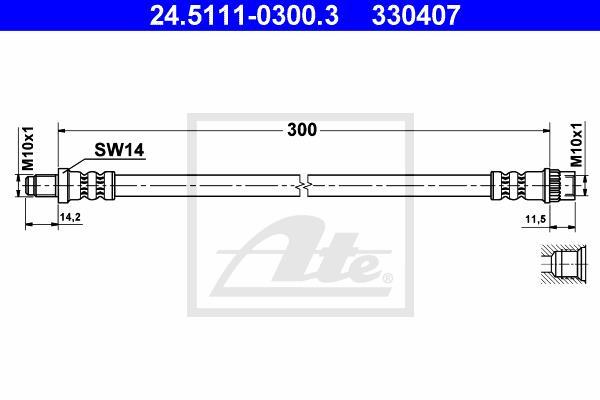 Ilustracja 24.5111-0300.3 ATE przewód hamulcowy elastyczny