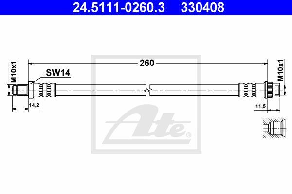 Ilustracja 24.5111-0260.3 ATE przewód hamulcowy elastyczny