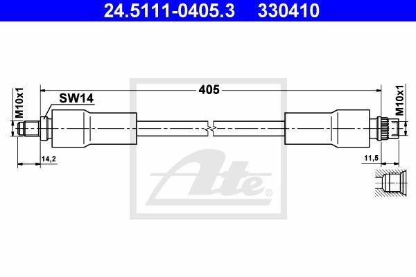 Ilustracja 24.5111-0405.3 ATE przewód hamulcowy elastyczny