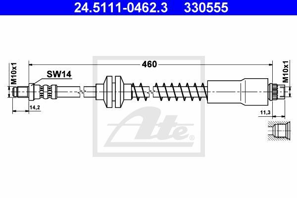 Ilustracja 24.5111-0462.3 ATE przewód hamulcowy elastyczny