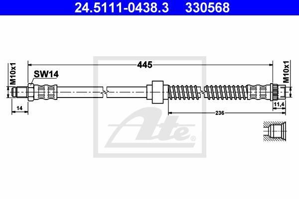 Ilustracja 24.5111-0438.3 ATE przewód hamulcowy elastyczny