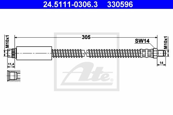 Ilustracja 24.5111-0306.3 ATE przewód hamulcowy elastyczny