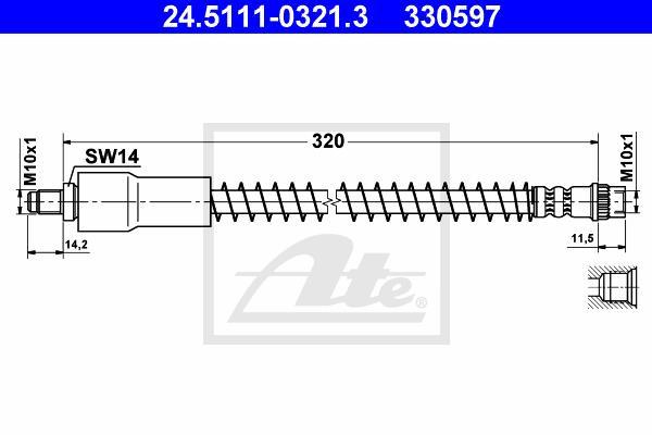 Ilustracja 24.5111-0321.3 ATE przewód hamulcowy elastyczny