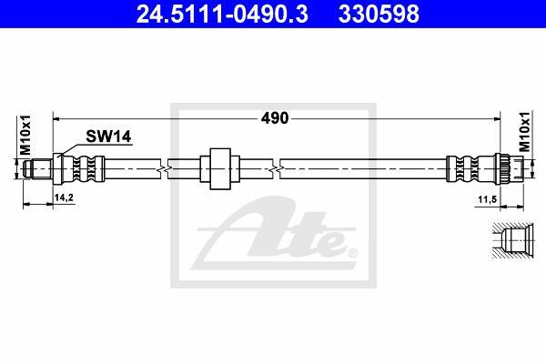 Ilustracja 24.5111-0490.3 ATE przewód hamulcowy elastyczny