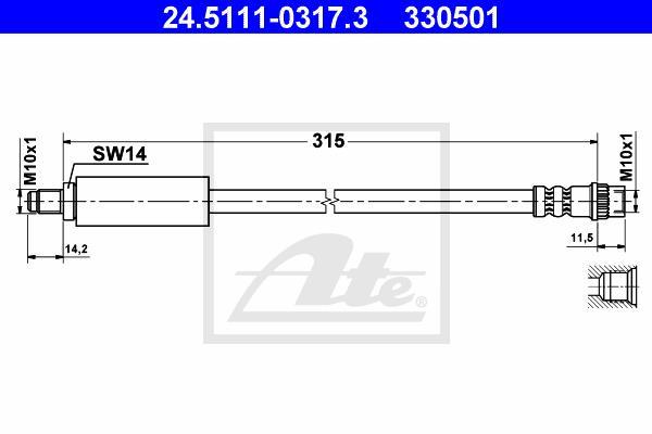 Ilustracja 24.5111-0317.3 ATE przewód hamulcowy elastyczny
