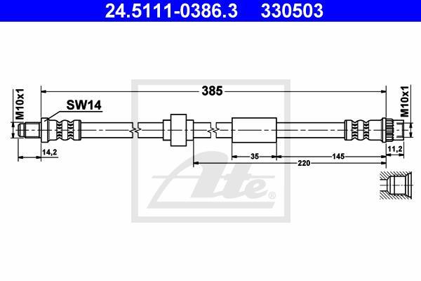 Ilustracja 24.5111-0386.3 ATE przewód hamulcowy elastyczny