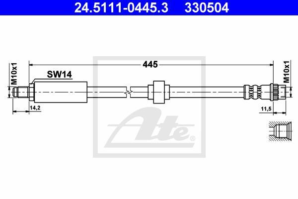 Ilustracja 24.5111-0445.3 ATE przewód hamulcowy elastyczny