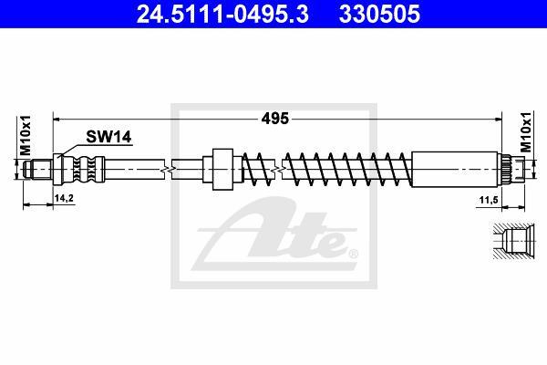 Ilustracja 24.5111-0495.3 ATE przewód hamulcowy elastyczny