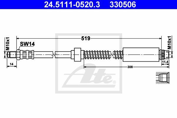 Ilustracja 24.5111-0520.3 ATE przewód hamulcowy elastyczny