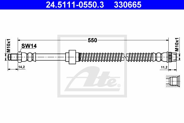 Ilustracja 24.5111-0550.3 ATE przewód hamulcowy elastyczny