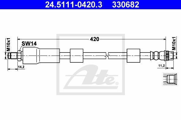 Ilustracja 24.5111-0420.3 ATE przewód hamulcowy elastyczny