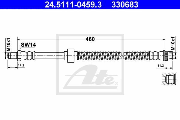 Ilustracja 24.5111-0459.3 ATE przewód hamulcowy elastyczny