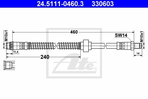 Ilustracja 24.5111-0460.3 ATE przewód hamulcowy elastyczny