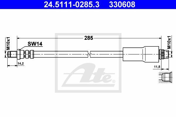 Ilustracja 24.5111-0285.3 ATE przewód hamulcowy elastyczny