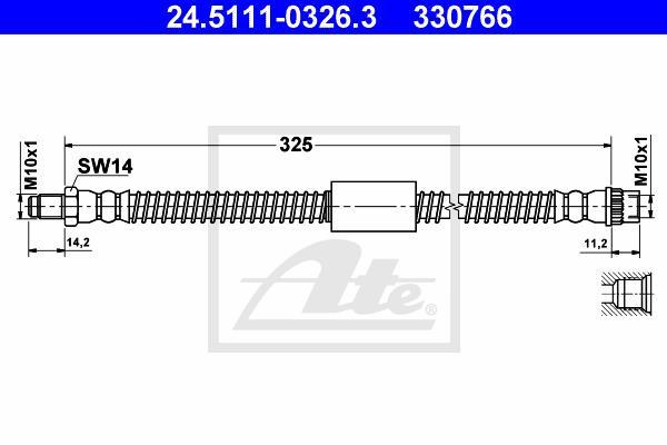 Ilustracja 24.5111-0326.3 ATE przewód hamulcowy elastyczny