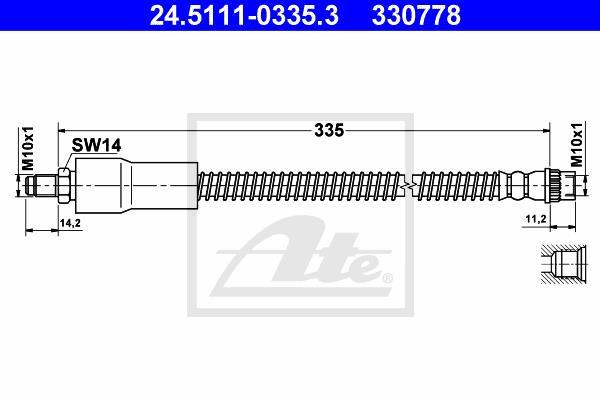 Ilustracja 24.5111-0335.3 ATE przewód hamulcowy elastyczny
