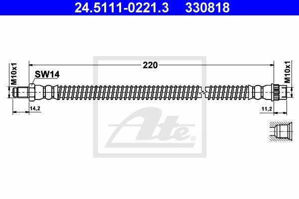 Ilustracja 24.5111-0221.3 ATE przewód hamulcowy elastyczny