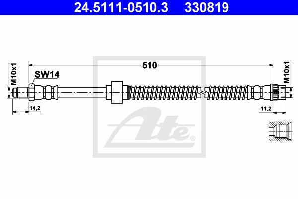 Ilustracja 24.5111-0510.3 ATE przewód hamulcowy elastyczny