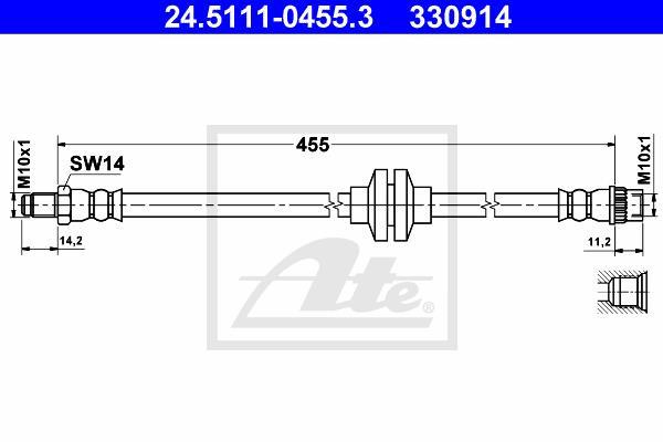Ilustracja 24.5111-0455.3 ATE przewód hamulcowy elastyczny