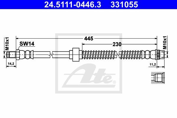 Ilustracja 24.5111-0446.3 ATE przewód hamulcowy elastyczny