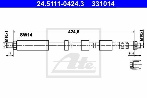 Ilustracja 24.5111-0424.3 ATE przewód hamulcowy elastyczny