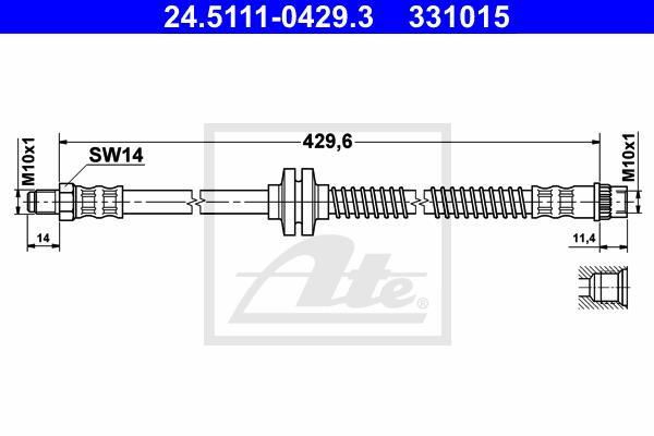 Ilustracja 24.5111-0429.3 ATE przewód hamulcowy elastyczny