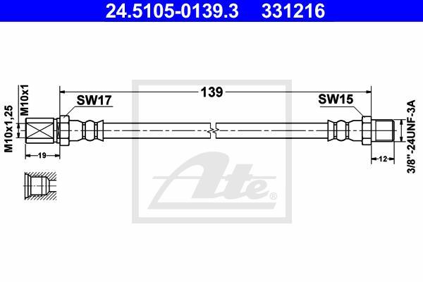 Ilustracja 24.5105-0139.3 ATE przewód hamulcowy elastyczny