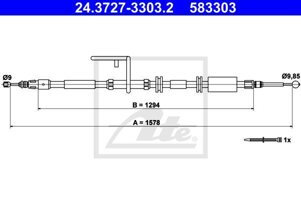 Ilustracja 24.3727-3303.2 ATE linka hamulca ręcznego