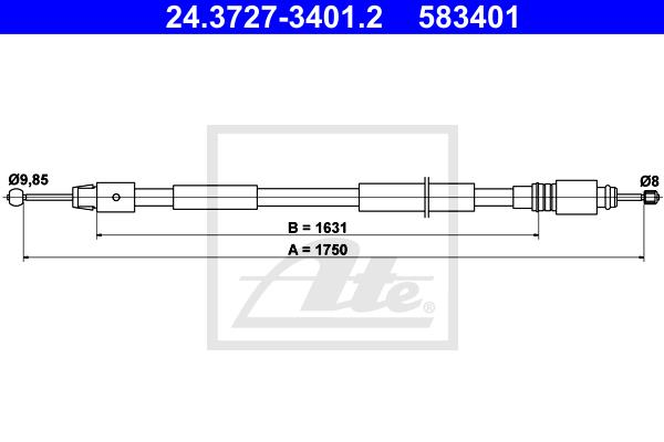 Ilustracja 24.3727-3401.2 ATE linka hamulca ręcznego