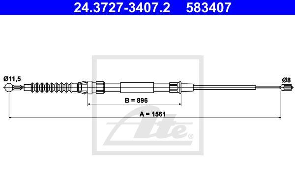 Ilustracja 24.3727-3407.2 ATE linka hamulca ręcznego