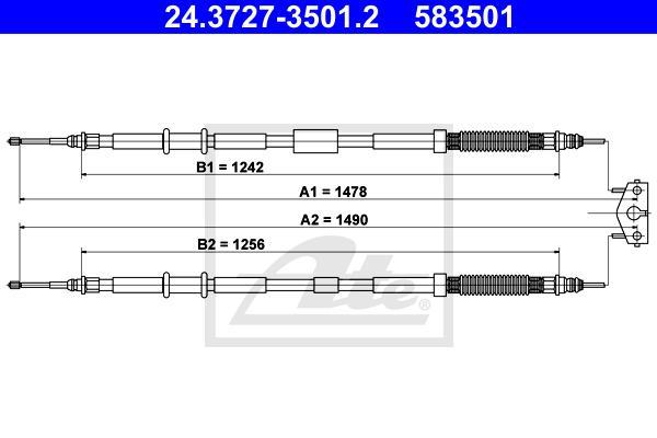 Ilustracja 24.3727-3501.2 ATE linka hamulca ręcznego