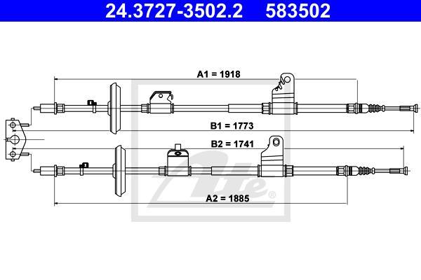 Ilustracja 24.3727-3502.2 ATE linka hamulca ręcznego