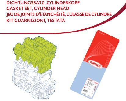 Ilustracja 413927P CORTECO zestaw uszczelek, głowica cylindrów