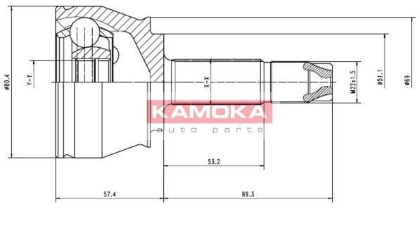 Ilustracja 7136 KAMOKA zestaw przegubu, wał napędowy